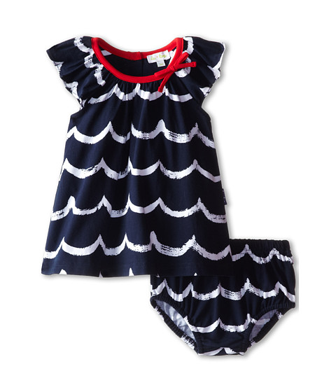 le top - Seashore Ocean Wave Dress and Panty (Newborn/Infant) (Navy) Girl's Active Sets