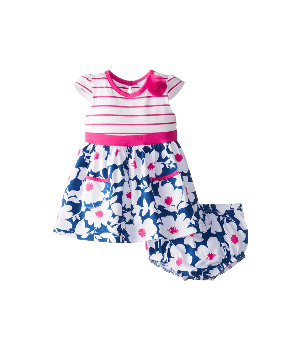 le top - Bloom Dress and Panty Chiffon Flower (Newborn/Infant) (Deep Blue) Girl's Clothing
