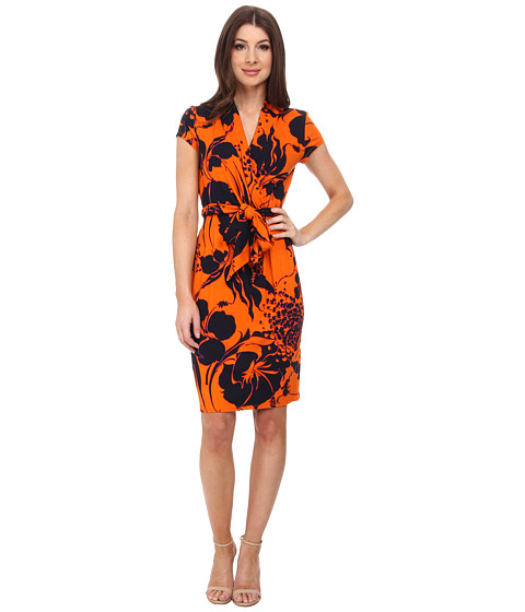 Adrianna Papell - Cap Sleeve Wrap Printed Dress (Orange Multi) Women