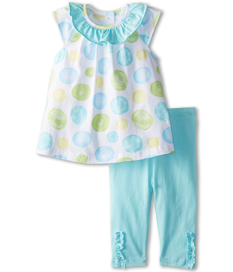 le top - Confetti Baby Doll Top and Capri Legging (Infant/Toddler) (Aquamarine) Girl's Active Sets