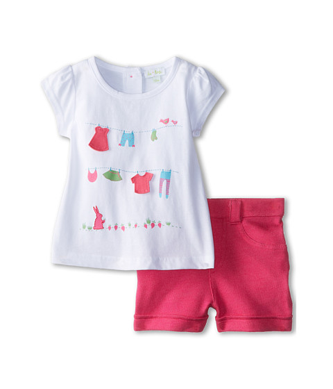 le top - Eat Your Veggies! Shirt and Shorts Bunny Clothesline and Garden (Infant/Toddler) (White) Girl's Active Sets