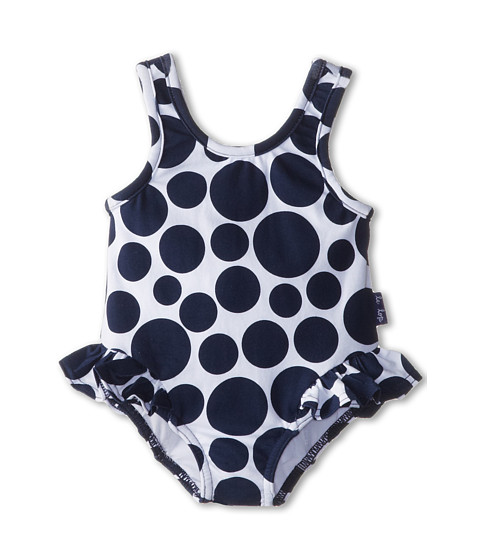 le top - Sail Away! Polka Dot Swimsuit w/ Hip Ruffle (Newborn/Infant/Toddler) (Navy) Girl's Swimsuits One Piece