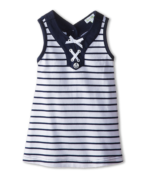 le top - Sail Away! Stripe and Dot Dress w/ Nautical Lace Front (Infant/Toddler/Little Kids) (Navy) Girl