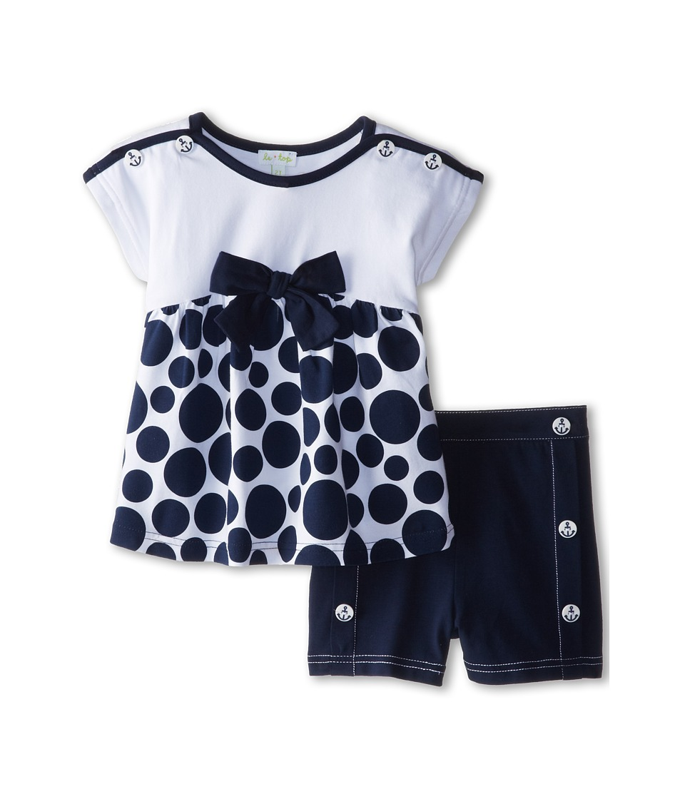 le top - Sail Away! Polka Dot Baby Doll Top and Shorts Bow (Toddler/Little Kids) (Navy) Girl's Active Sets