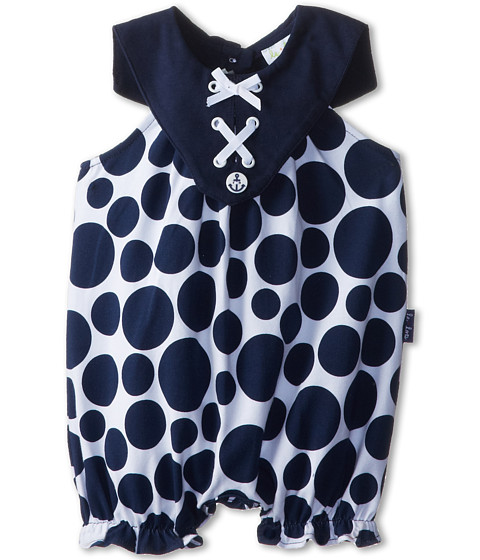le top - Sail Away! Polka Dot Bubble w/ Laced Nautical Collar (Newborn/Infant) (Navy) Girl's Jumpsuit & Rompers One Piece