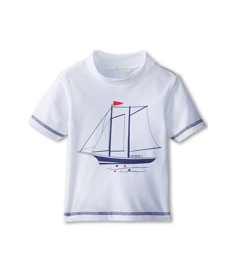 le top - Sail Away! SPF Protection Swim Shirt Schooner (Infant/Toddler) (White) Boy