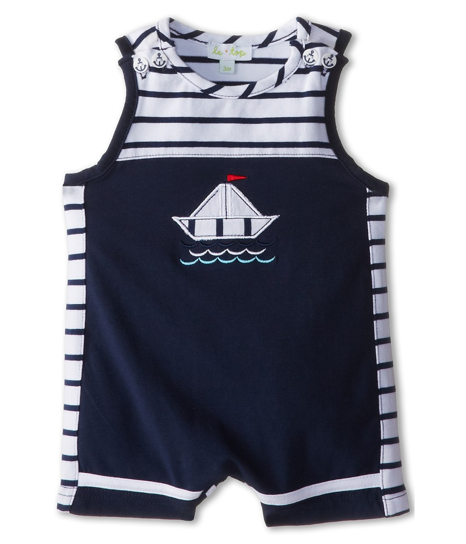 le top - Sail Away! Sleeveless Pieced Romper Sailboat (Newborn/Infant) (Navy) Boy's Jumpsuit & Rompers One Piece