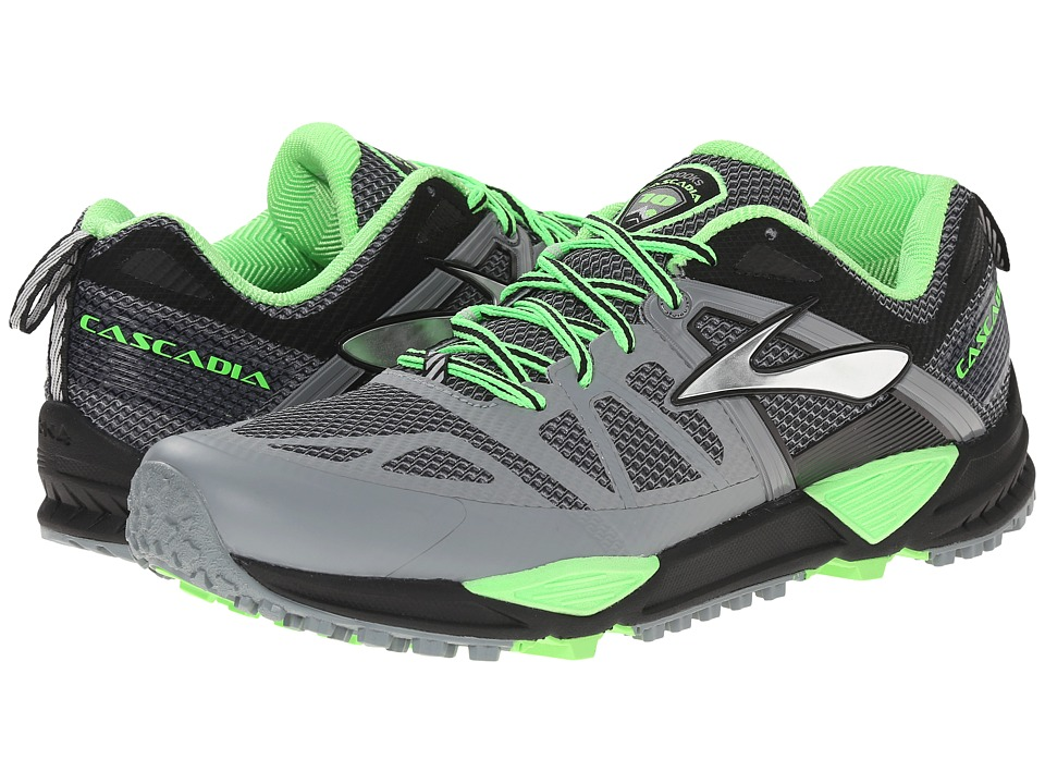 Brooks - Cascadia 10 (Primer Grey/Black/Green Gecko) Men's Shoes
