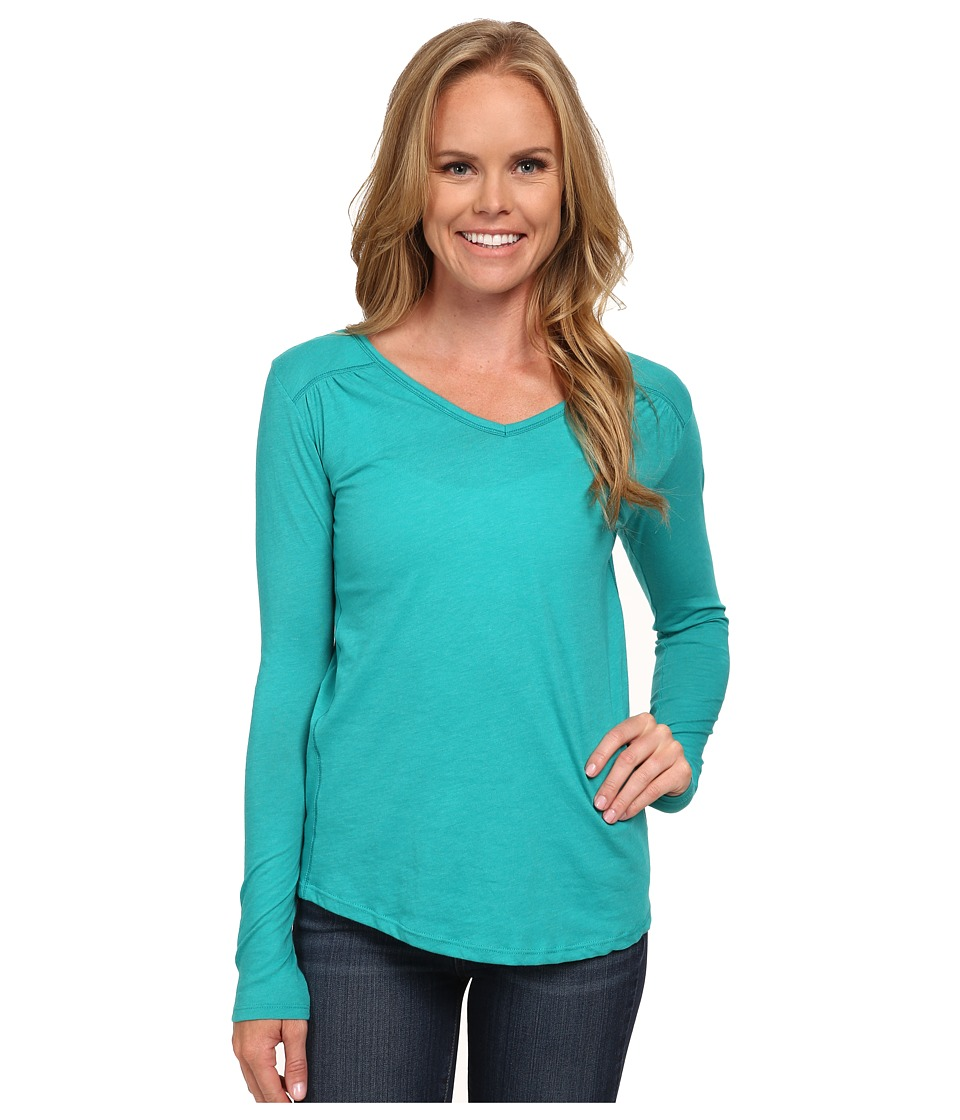 Columbia - Everything She Needs V-Neck Long Sleeve (Mayan Green Heather) Women's Long Sleeve Pullover