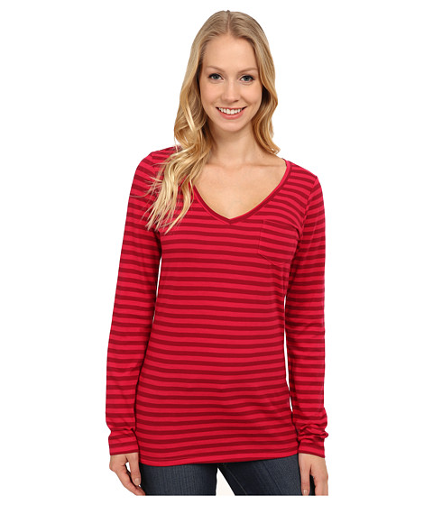 Columbia - Everyday Kenzie V-Neck Long Sleeve (Ruby Red Stripe) Women