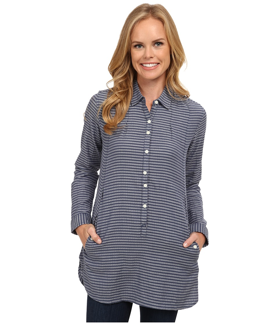 Toad&Co - Mixologist Tunic (Vintage Indigo) Women's Long Sleeve Button Up
