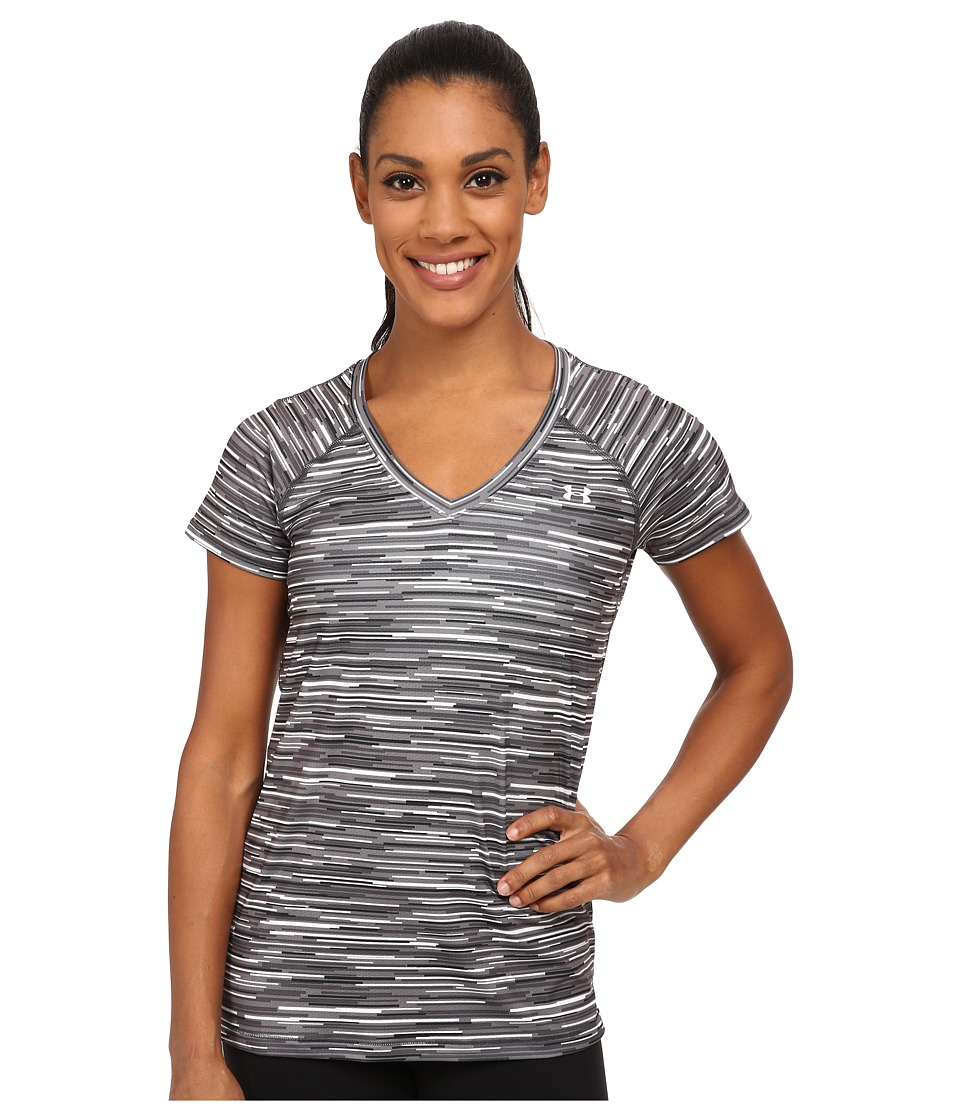 Under Armour Heatgear(r) Alpha Mesh Printed V-Neck (White/Graphite/Metallic Silver/Graphic) Women