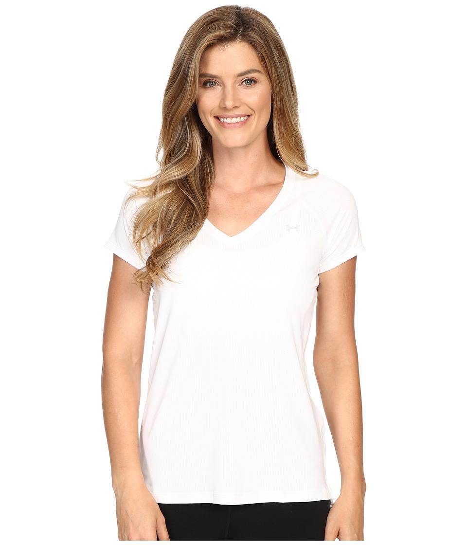 Under Armour - UA HeatGear(r) Armour Mesh V-Neck (White/Graphite/Metallic Silver) Women's Short Sleeve Pullover
