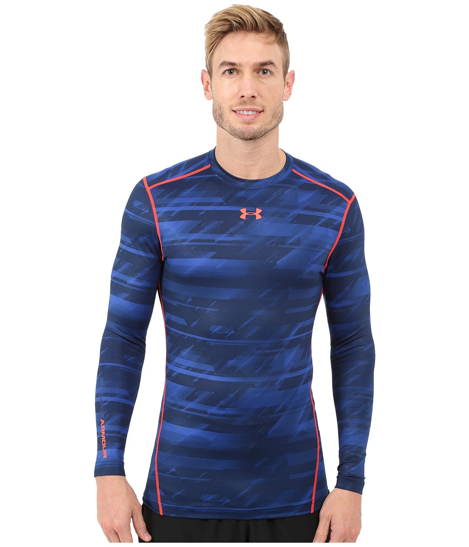 Under Armour - UA Coldgear(r) Armour(r) Printed Compression Crew (Academy/Bolt Orange) Men's Long Sleeve Pullover