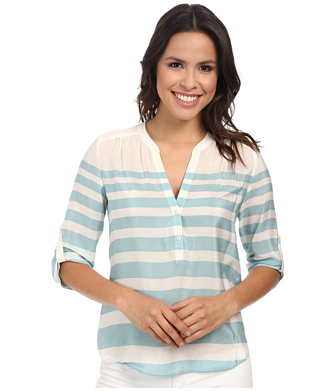 Tommy Bahama - Augustus Stripe Pop Over Top (Heavenly Peace) Women's Long Sleeve Pullover