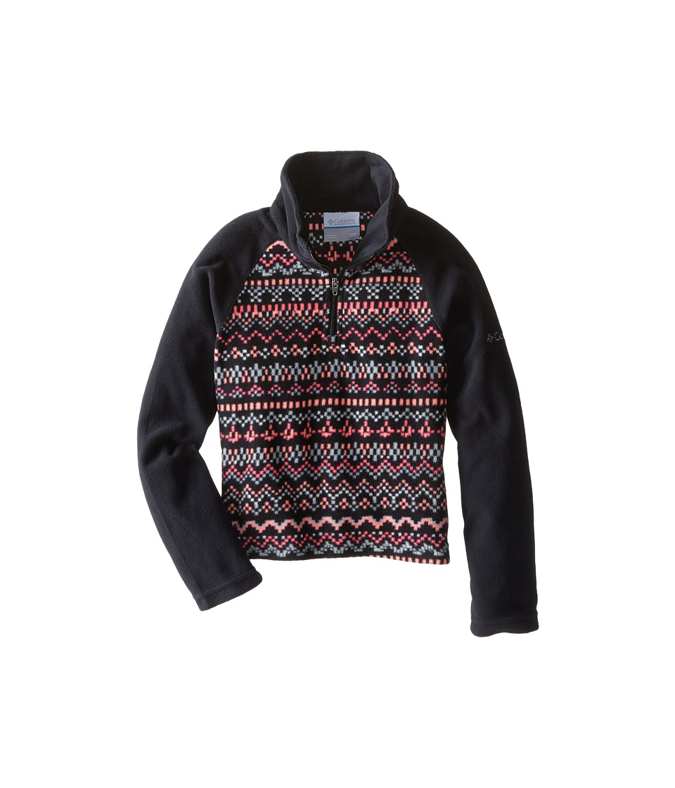 Columbia Kids - Glacial II Fleece Print Half Zip (Little Kids/Big Kids) (Coral Glow Fairisle/Black) Girl