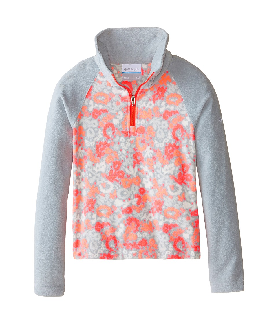 Columbia Kids - Glacial II Fleece Print Half Zip (Little Kids/Big Kids) (Earl Grey Floral/Earl Grey/Laser Red Zip) Girl's Fleece