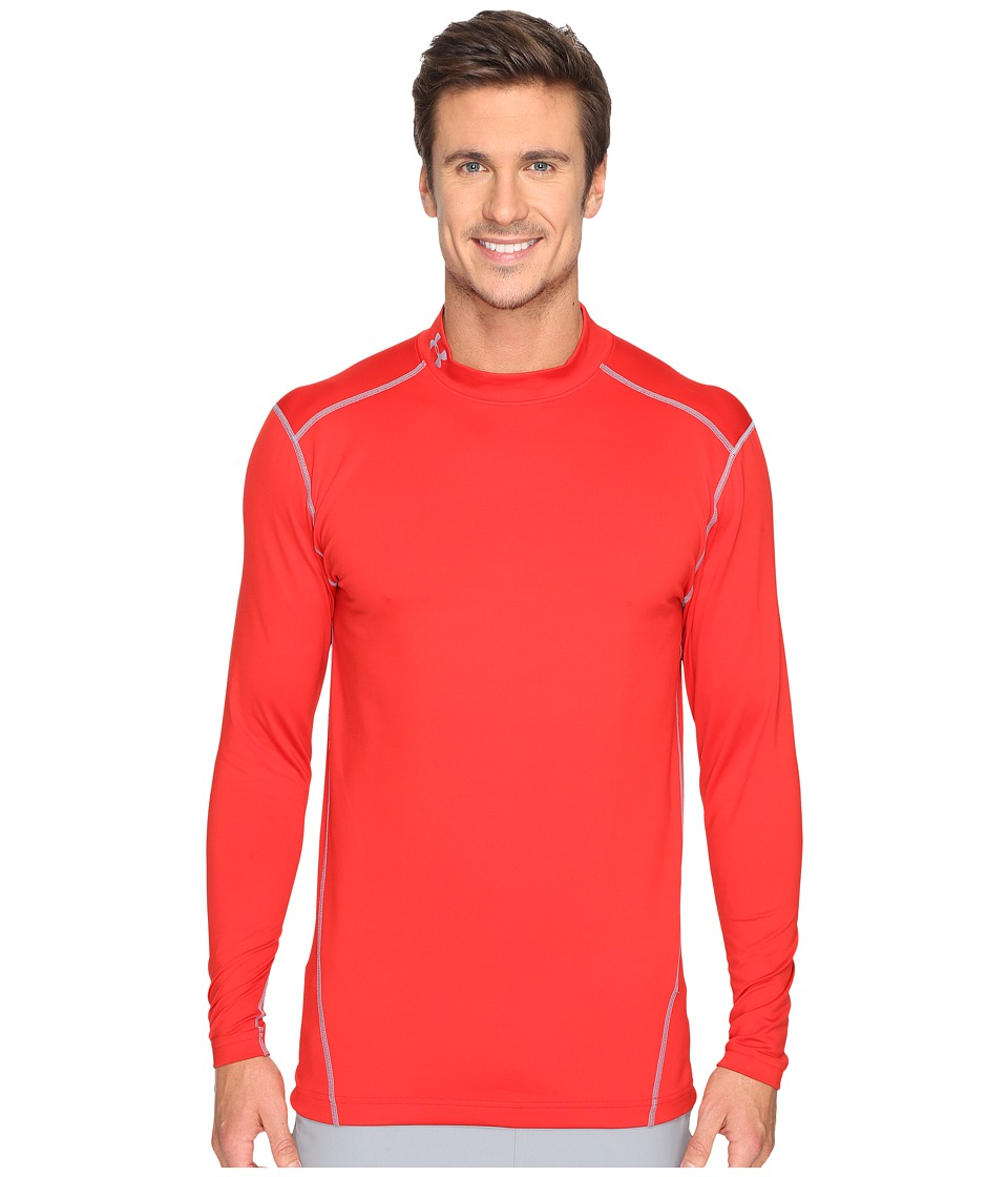 Under Armour - UA Coldgear(r) Armour(r) Compression Mock (Red/Steel) Men's Long Sleeve Pullover