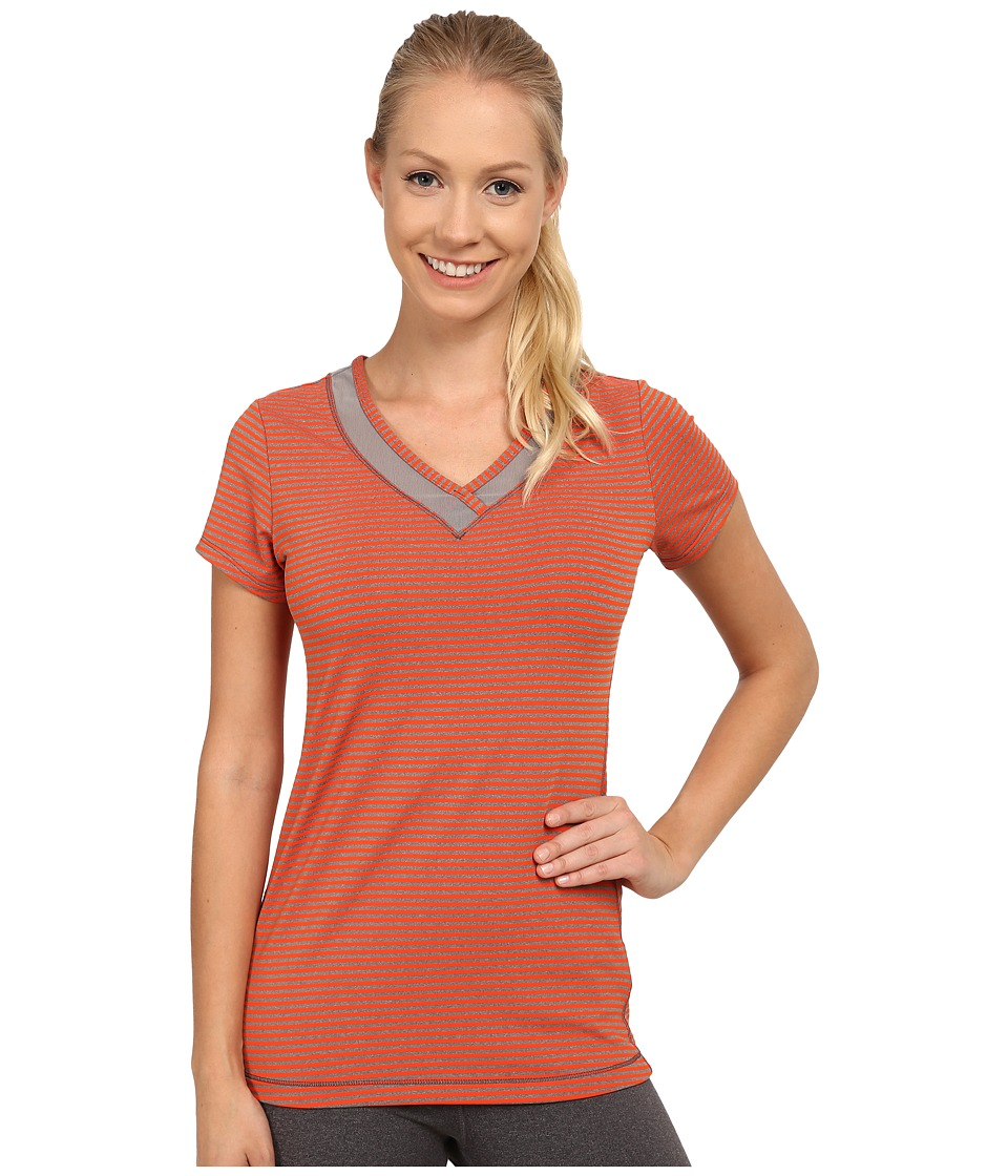 Lole - Curl Top (Tango Stripe) Women's Short Sleeve Pullover