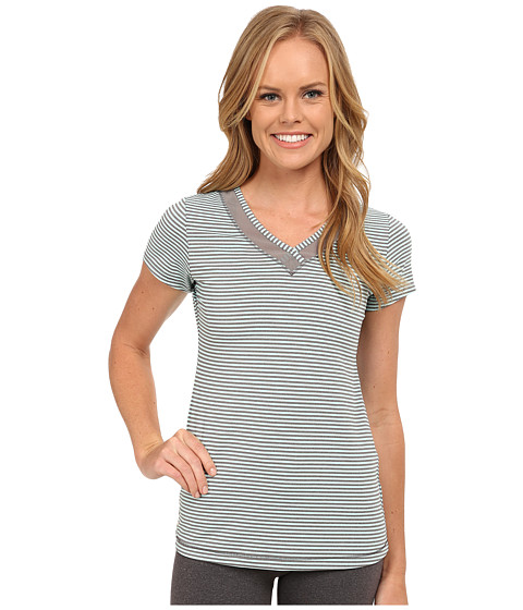 Lole - Curl Top (Clearly Aqua Stripe) Women's Short Sleeve Pullover