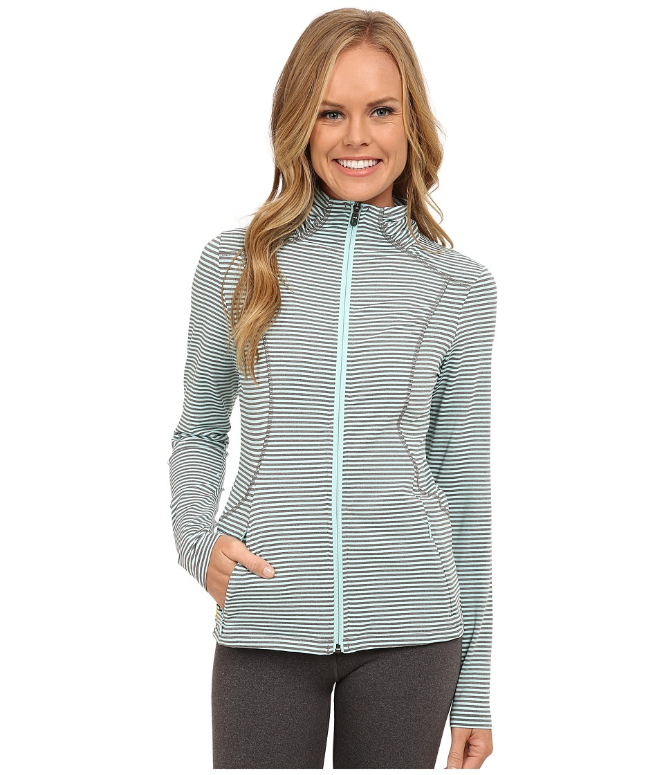 Lole - Essential Cardigan (Clearly Aqua Stripe) Women's Sweater