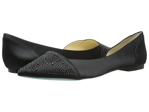 Blue by Betsey Johnson - Honey (Black Satin) Women's Dress Flat Shoes