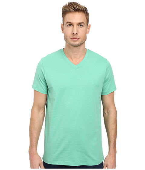 BOSS Hugo Boss - S/S V-Neck Shirt (Pastel Green) Men's Short Sleeve Pullover