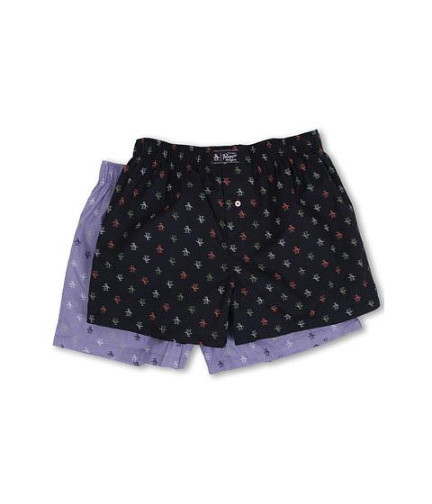 Original Penguin - 2-Pack Woven Boxer (Navy/Lavender) Men