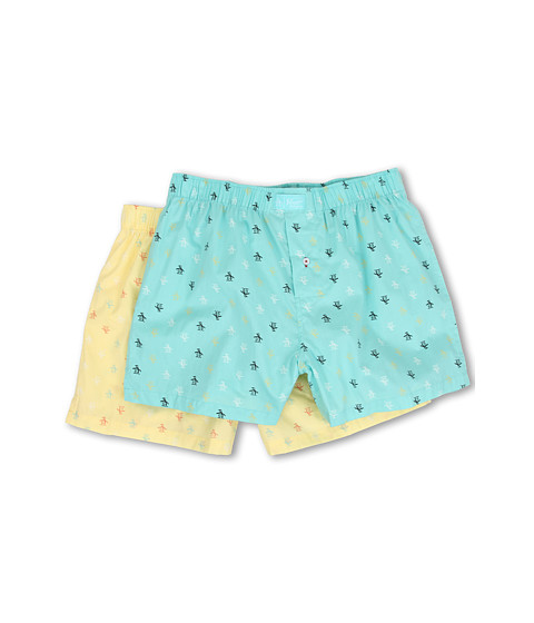 Original Penguin - 2-Pack Woven Boxer (Aqua/Lemon) Men