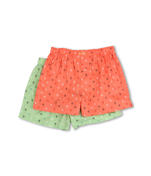 Original Penguin - 2-Pack Woven Boxer (Coral/Green) Men's Underwear