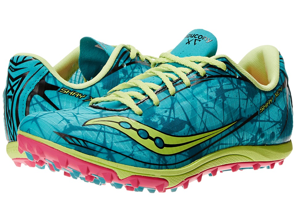Saucony - Shay XC4 Flat (Green/Citron/Pink) Women's Running Shoes