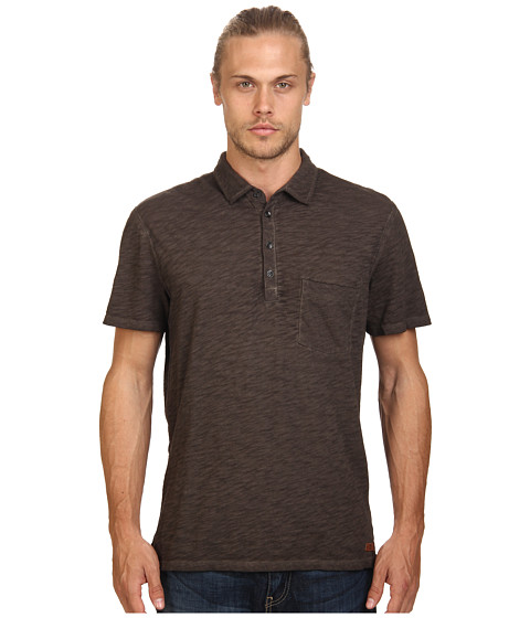 7 For All Mankind - Raw Placket Polo (Driftwood) Men's Short Sleeve Pullover
