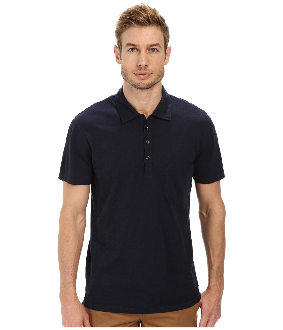 7 For All Mankind - Raw Placket Polo (Authentic Navy) Men's Short Sleeve Pullover