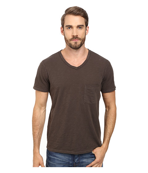 7 For All Mankind - Short Sleeve Raw V-Neck (Espresso) Men's Clothing