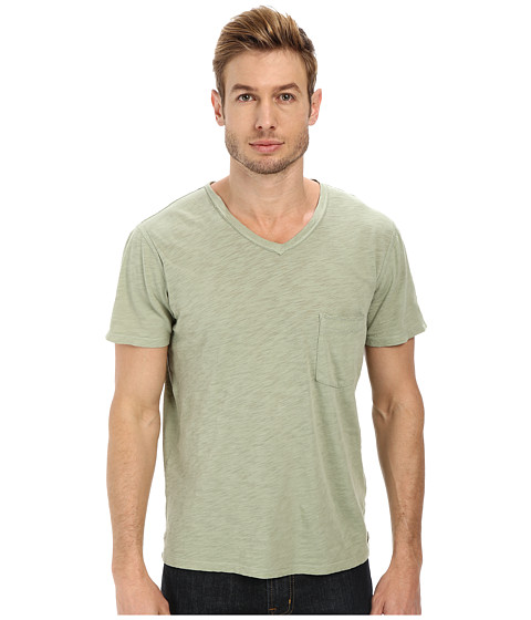 7 For All Mankind - Short Sleeve Raw V-Neck (Sage) Men's Clothing
