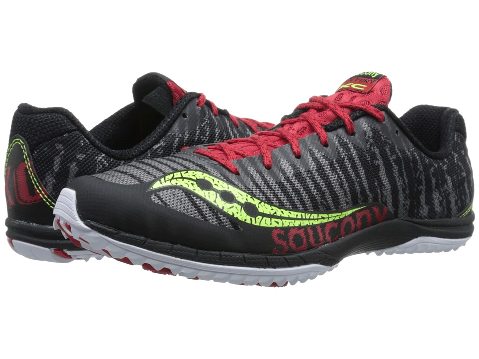 Saucony - Kilkenny XC5 (Flat) (Black/Citron/Red) Men's Running Shoes