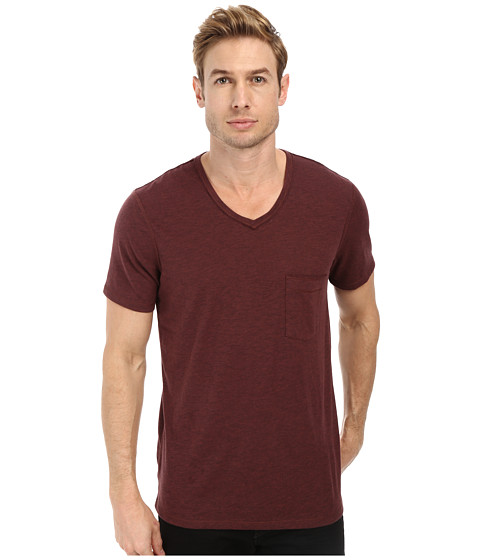 7 For All Mankind - Short Sleeve Raw V-Neck (Heather Port) Men's T Shirt
