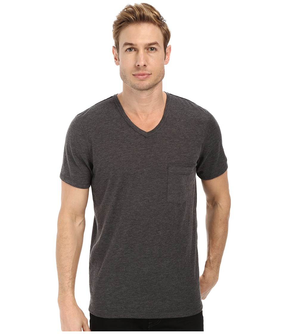 7 For All Mankind - Short Sleeve Raw V-Neck (Heather Charcoal) Men's T Shirt