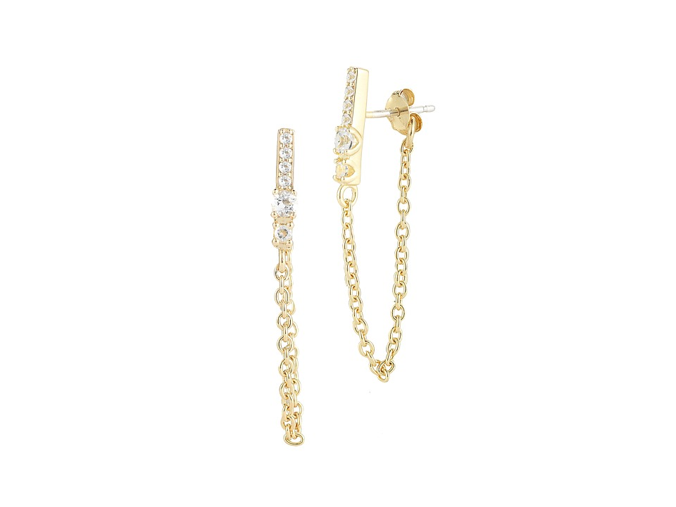 Elizabeth and James - Kiki Stud Earrings (Yellow Gold/White Topaz) Earring