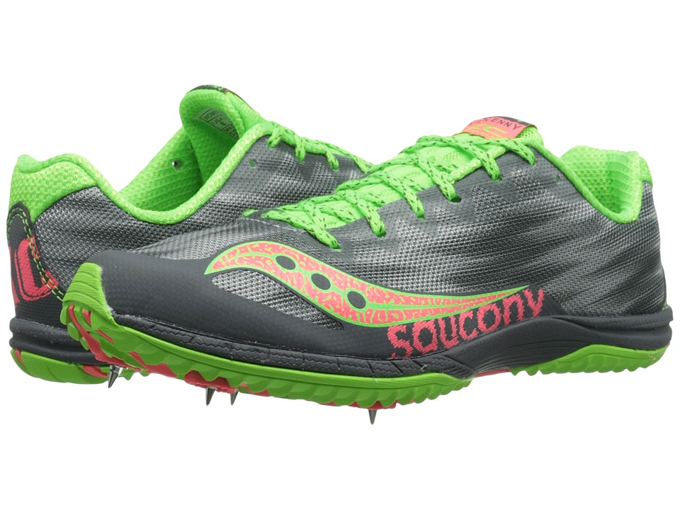 Saucony - Kilkenny XC5 (Spike) (Grey/Slime/Pink) Women's Running Shoes