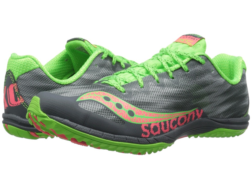 Saucony - Kilkenny XC5 (Flat) (Grey/Slime/Pink) Women's Running Shoes