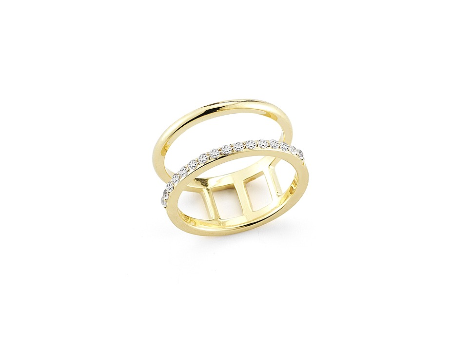 Elizabeth and James - Dylan Band Ring (Yellow Gold/White Topaz) Ring