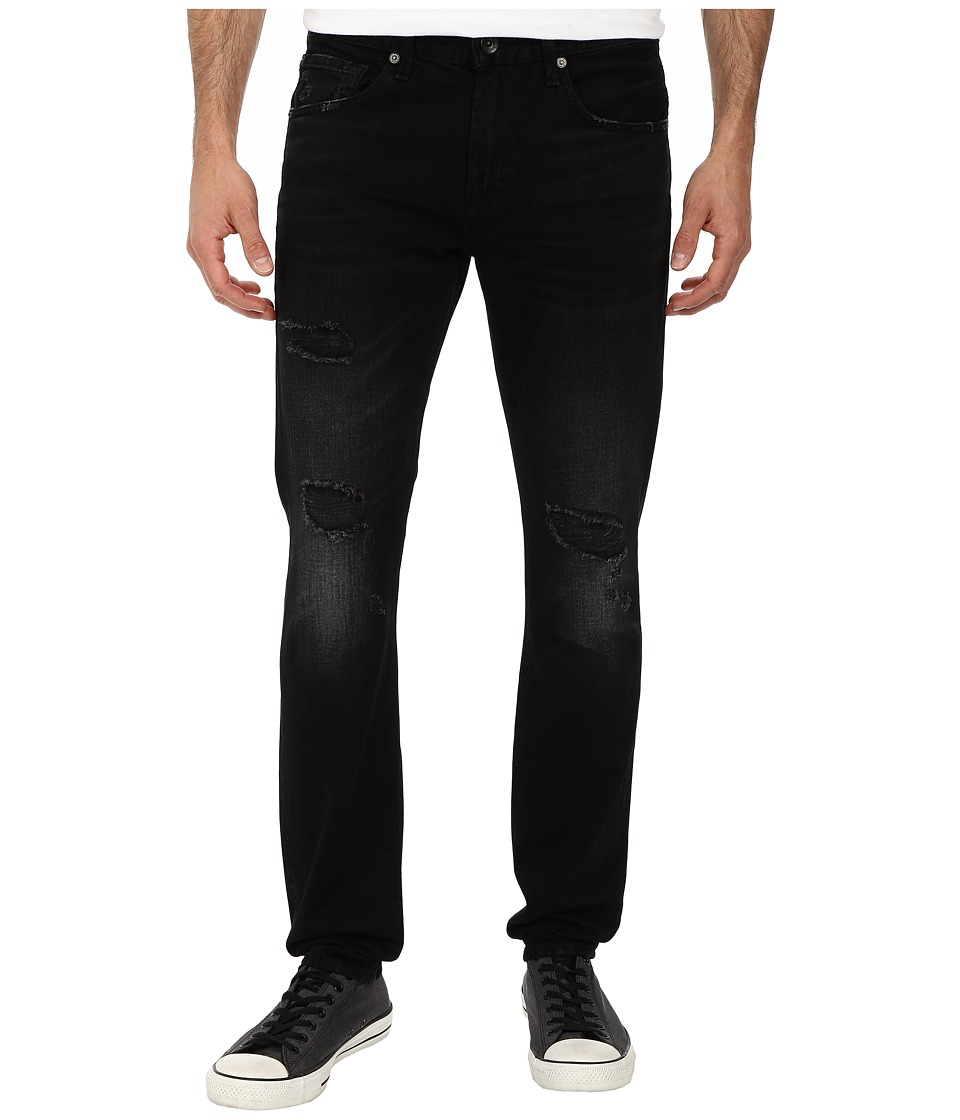 7 For All Mankind - Paxtyn Skinny w/ Clean Pocket in Destroyed Black (Destroyed Black) Men's Jeans