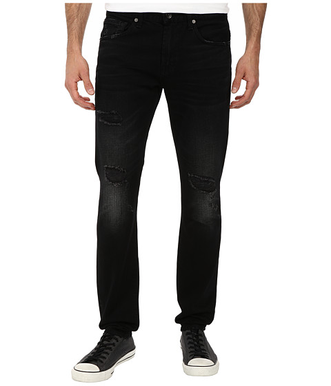 7 For All Mankind - Paxtyn Skinny w/ Clean Pocket in Destroyed Black (Destroyed Black) Men