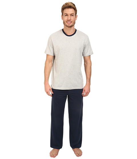 Original Penguin - Jersey Sleep Set (Navy/Grey Heather) Men's Pajama Sets