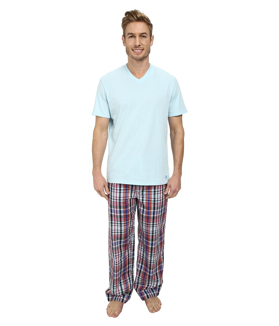 Original Penguin - V-Neck Sleep Set (Scuba Plaid) Men's Pajama Sets