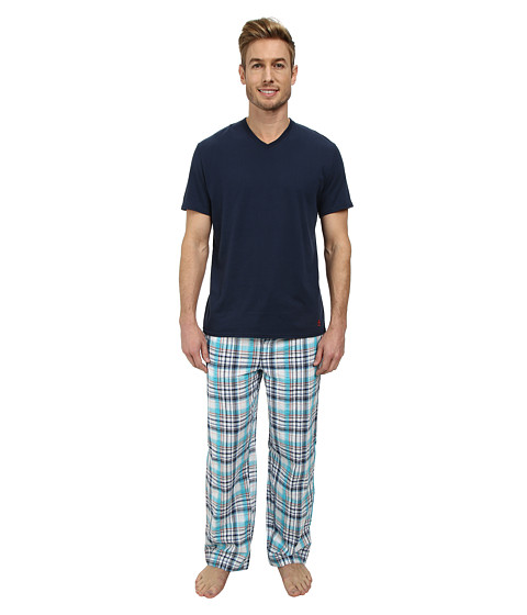 Original Penguin - V-Neck Sleep Set (Navy Plaid) Men's Pajama Sets