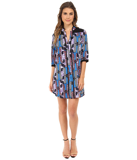 Tbags Los Angeles - Printed Shirt Dress (Blue/Purple/Pink) Women's Dress