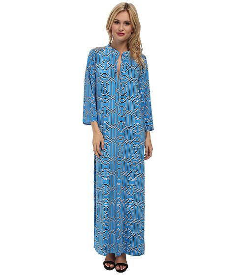 Tbags Los Angeles - Long Sleeve Maxi w/ Side Slit (Blue Multi) Women