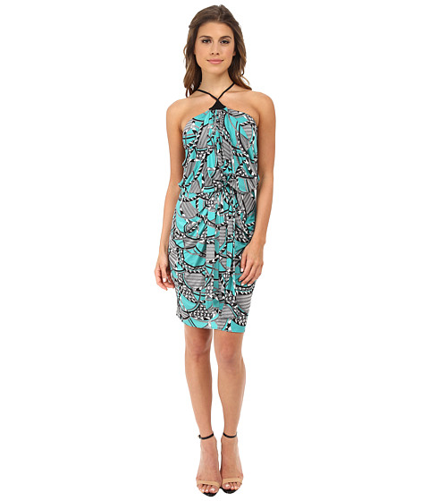 Tbags Los Angeles - Halter Front Knot Dress (Green/White/Black) Women